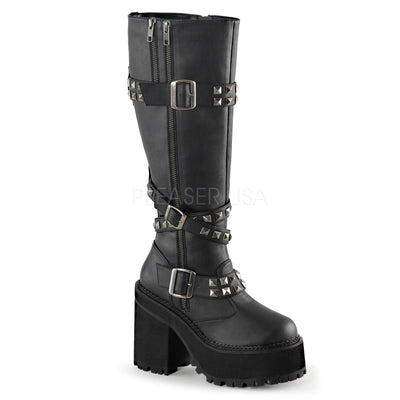 "ASSAULT-203 - 4 3/4"" Heel Platform Knee High Boot with Pyramid Studs - Lavender's Dream"