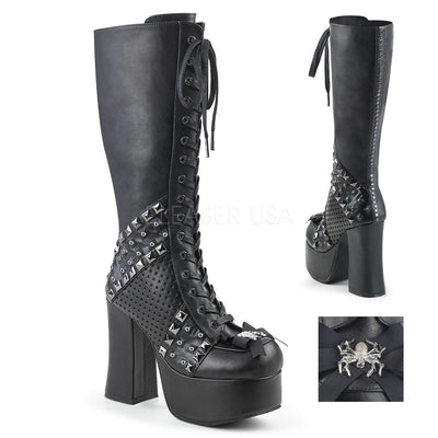 "CHARADE-150 - 4 1/2"" Heel Platform Knee High Boot with Studded Panels & Spider Bow - Lavender's Dream"