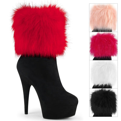"ankle boot, DELIGHT-1000 - 6"" Heel, 1 3/4"" Platform Ankle Bootie with Snap-On Fur Cuffs - Lavender's Dream"