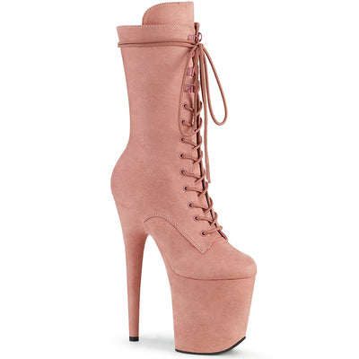 "ankle boot, FLAMINGO-1050FS - 8"" Heel 4"" Platform Faux Suede Ankle Boot - Additional Colors - Lavender's Dream"