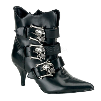 "FURY-06 - 3"" Kitten Heel Goth Punk Witchy Ankle Boot with Silver Skull Buckle - Lavender's Dream"