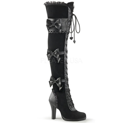 "GLAM-300 - 4"" Heel Platform Goth Lolita Over-the-Knee Boot with Scalloped Straps & Bow - Lavender's Dream"