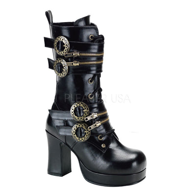 "GOTHIKA-100 - 4"" Heel Platform Steampunk Calf Boot with Gear Buckles - Lavender's Dream"
