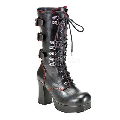 "GOTHIKA-101 - 4"" Heel Platform Goth Punk Lolita Lace Up Front Platform Calf Boot with Straps - Lavender's Dream"
