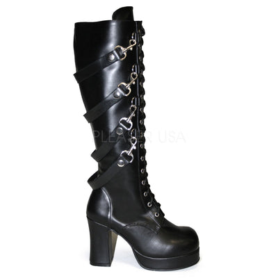 "knee boot, GOTHIKA-209 - 4"" Heel Platform Goth Punk Lolita Knee Boot with Bondage Straps - Couture Exotica"