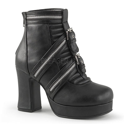 "GOTHIKA-50 - 4"" Block Heel Platform Ankle Boot with Tri-Zippered & Buckled Straps - Lavender's Dream"