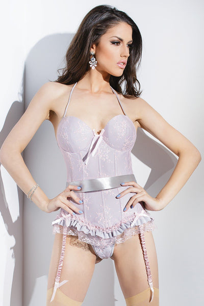 CQSB586 - Bustier and G-string with gathered satin garters and ribbon restraints - Lavender's Dream