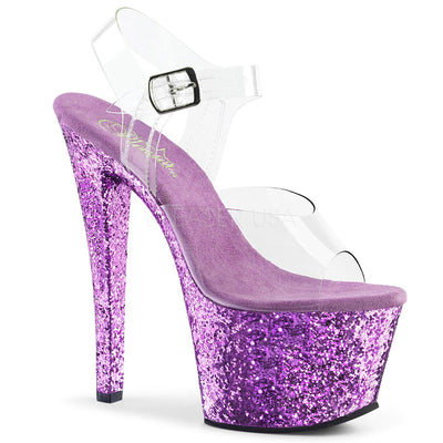 "ankle strap sandal, SKY-308LG - 7"" Heel Ankle Strap Sandal with Holographic Glittered Platform - Couture Exotica"