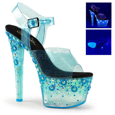 "ankle strap sandal, SKY-308UVMG - 7"" Heel Sandal with UV Blacklight Reactive Glitter & Holographic Pearls on Platform - Lavender's Dream"