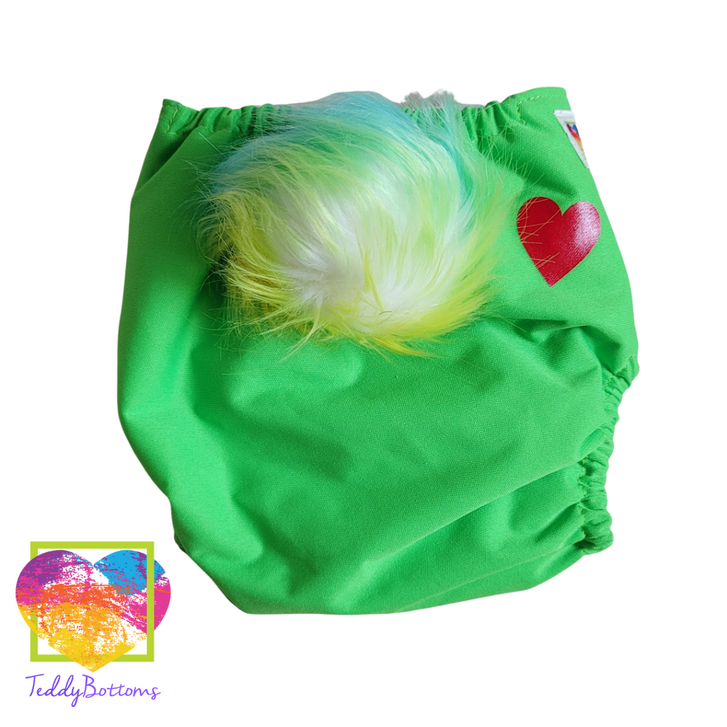 Love Bear Green OS Cover Diaper. Removable Tail