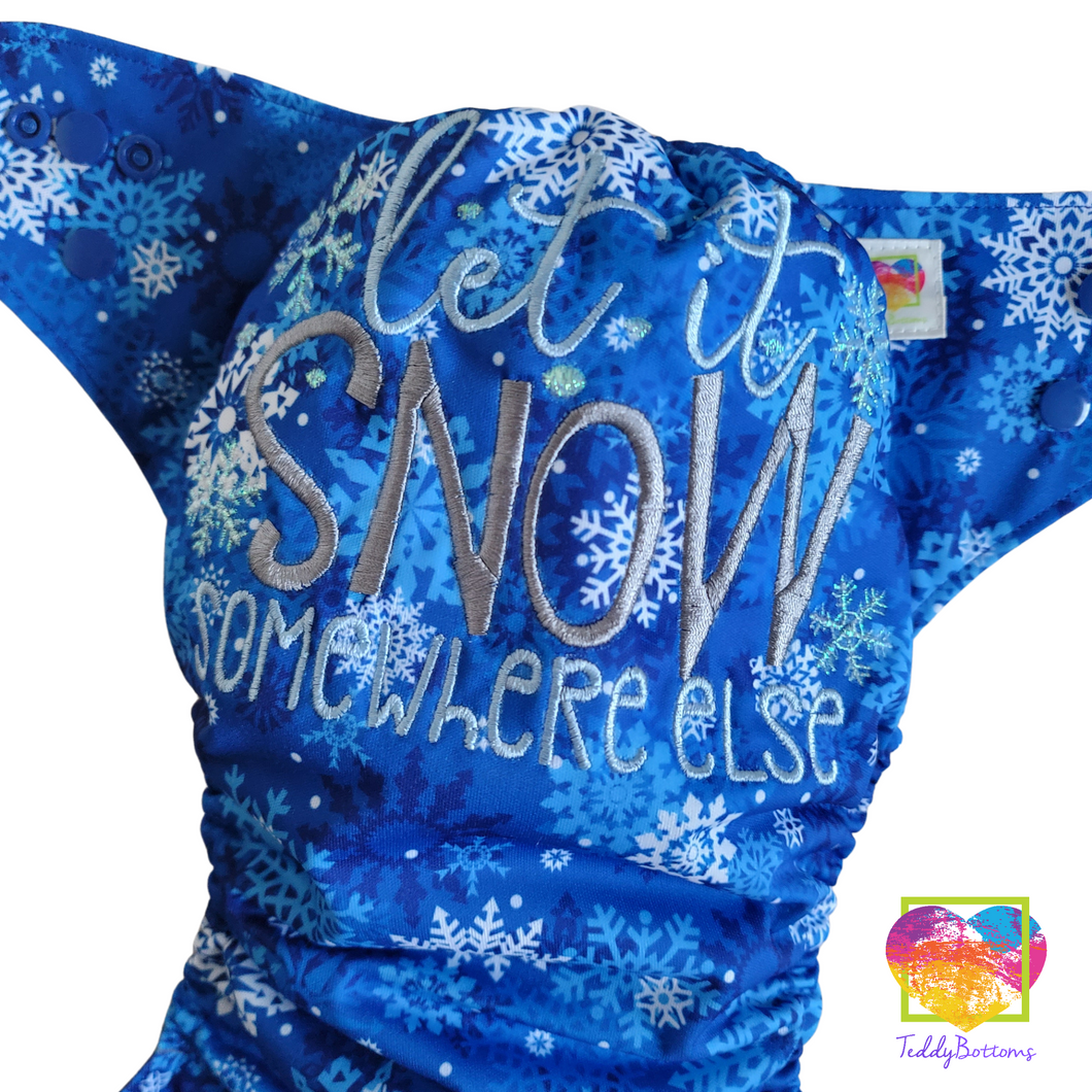 Let it Snow Embroidered OS Pocket Diaper