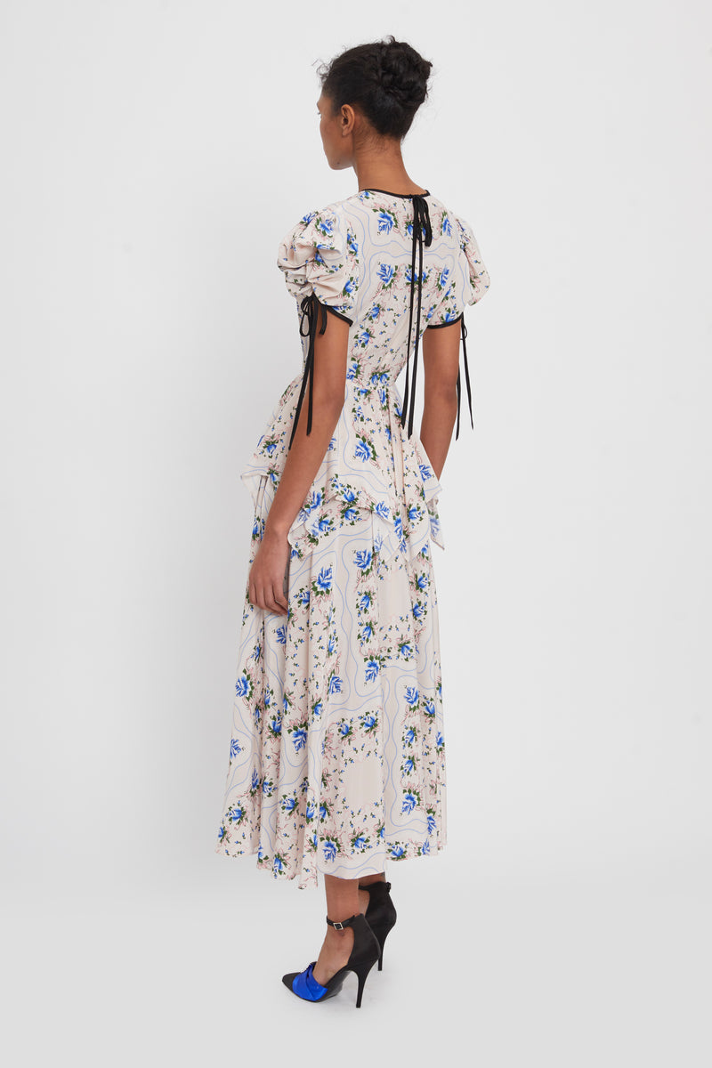 Ruffled Floral Print Silk Maxi Dress