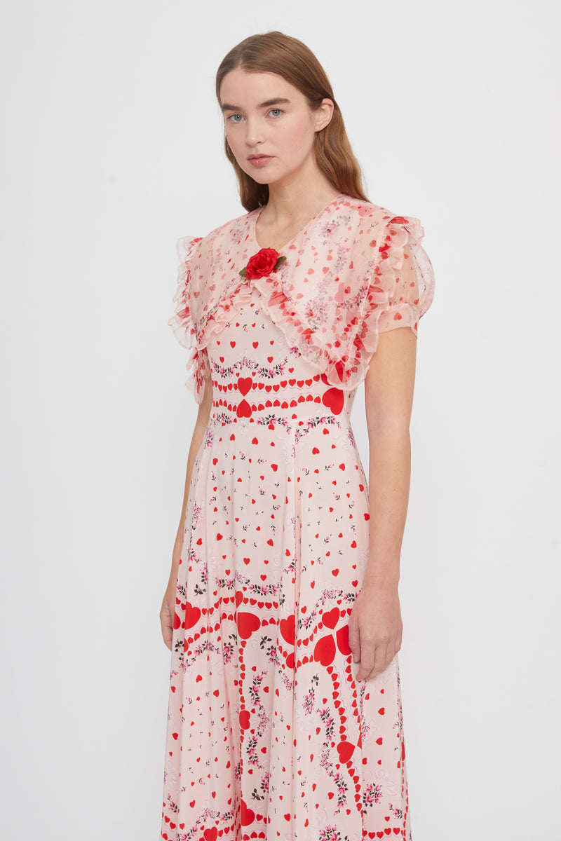 Ruffled Red Heart Floral Silk Dress