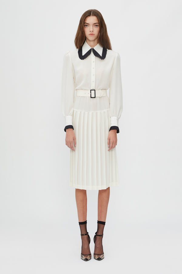Off White And Black Belted Silk Pleated Collar Dress