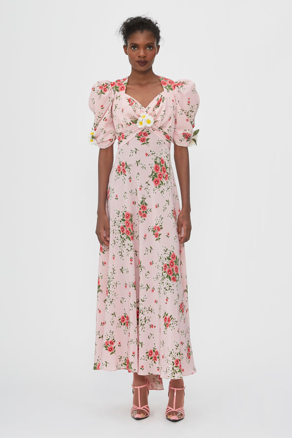 Pink Daisy Printed Silk Dress