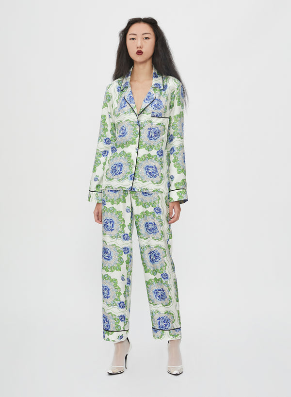 Floral Printed Silk Pajama Top