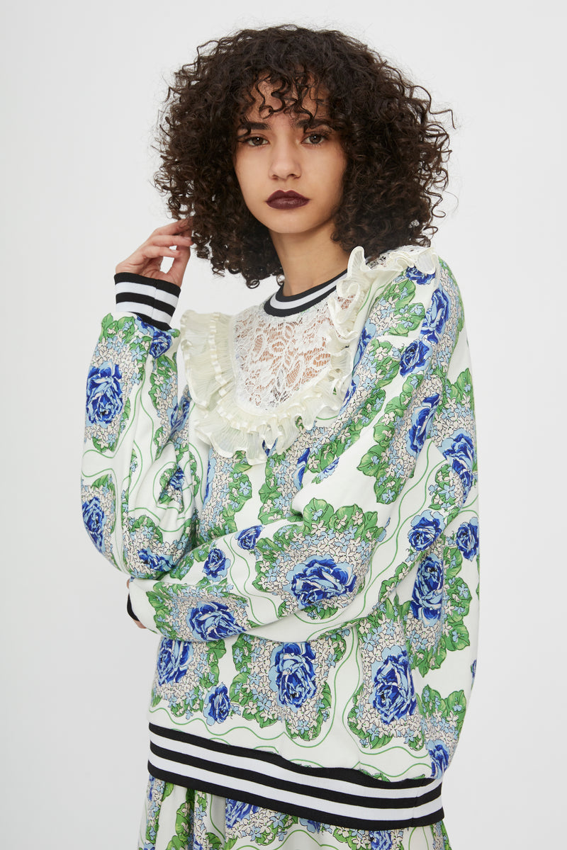 Blue And Green Floral Printed Sweatshirt