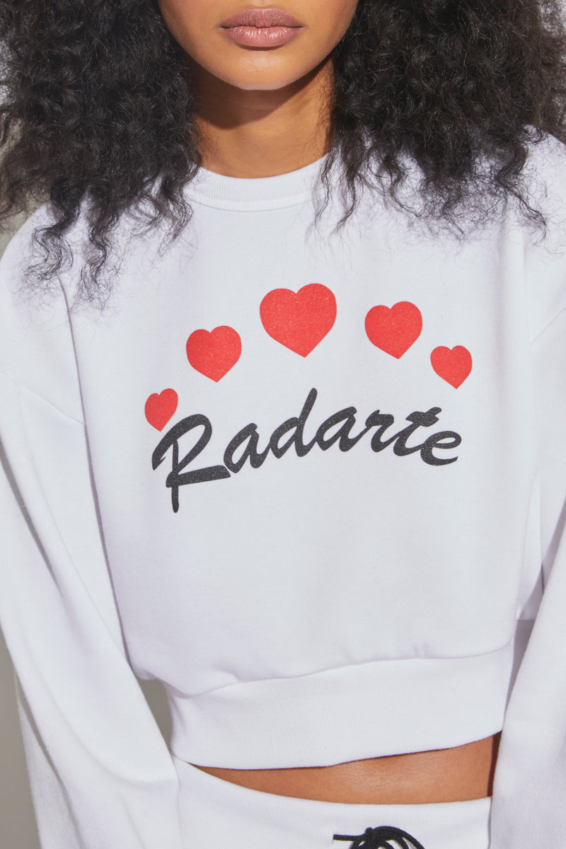 Heart Print Radarte Cropped Sweatshirt