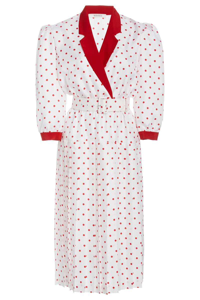 Belted Polka Dot Silk Dress
