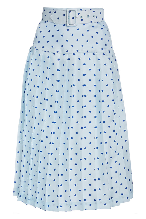 Belted Pleated Polka Dot Silk Skirt