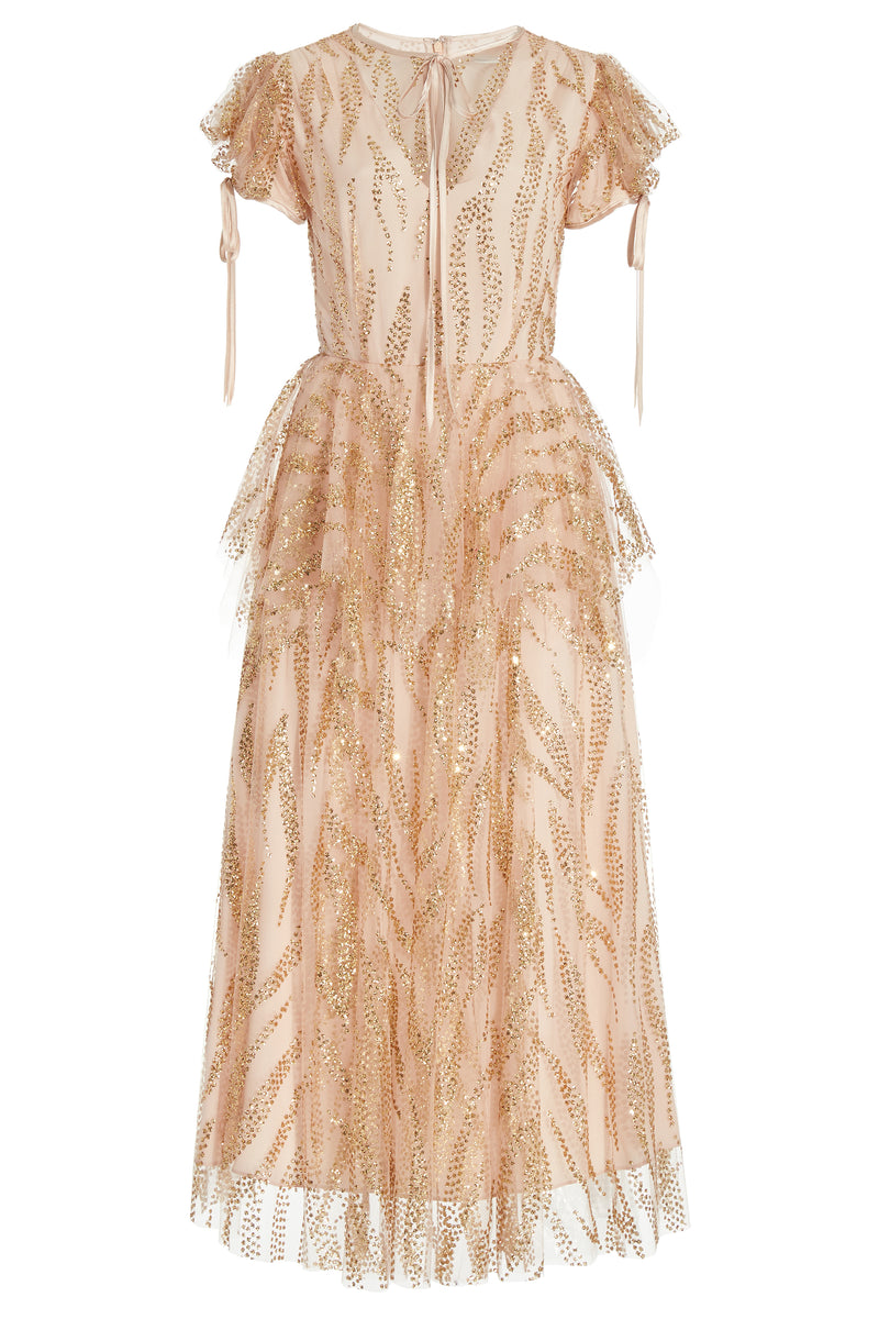 Gold Glitter Embellished Tulle Dress