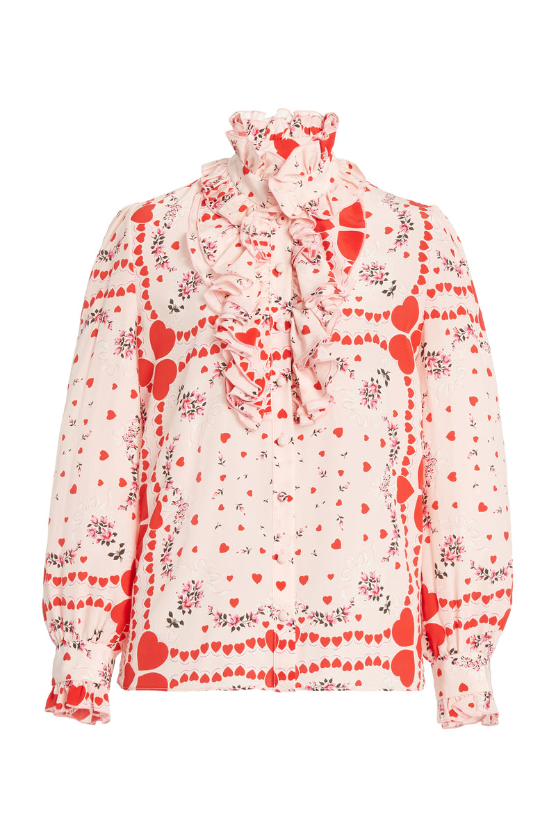 Ruffle Trimmed Red Heart Floral Silk Blouse