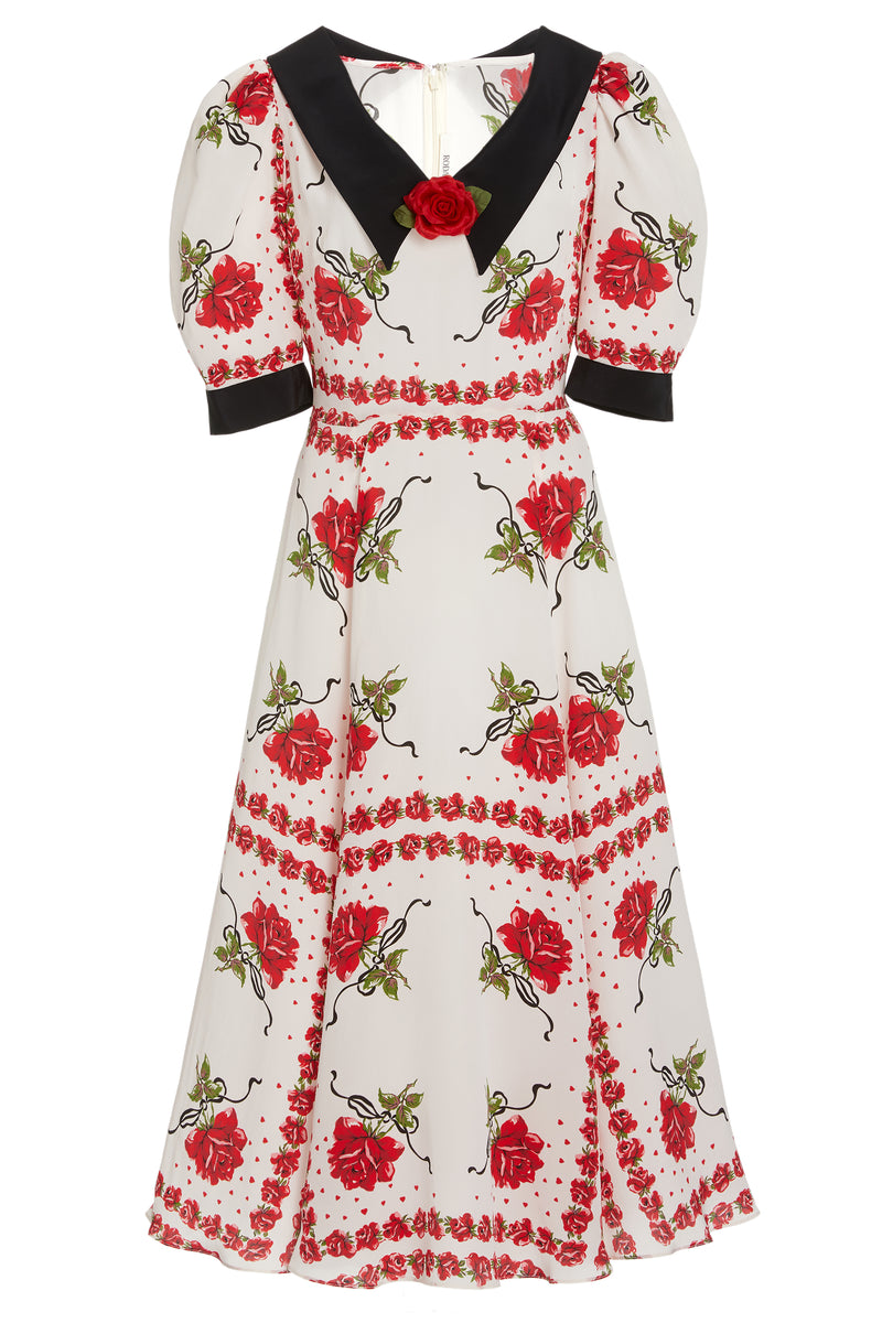 Collared Red Rose Silk Dress