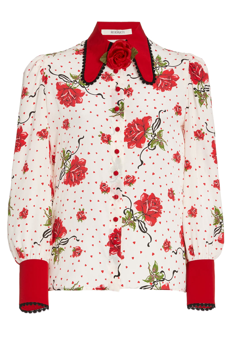 Red Rose Silk Blouse