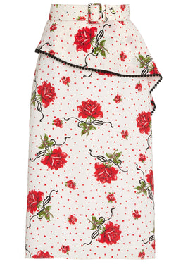 Red Rose Replum Ruffle Silk Skirt