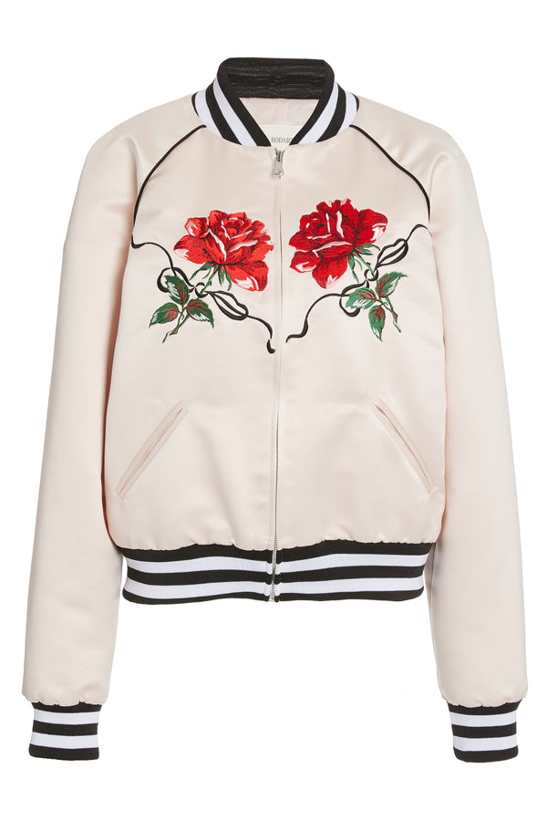 Light Pink Satin Rose Embroidered Bomber Jacket