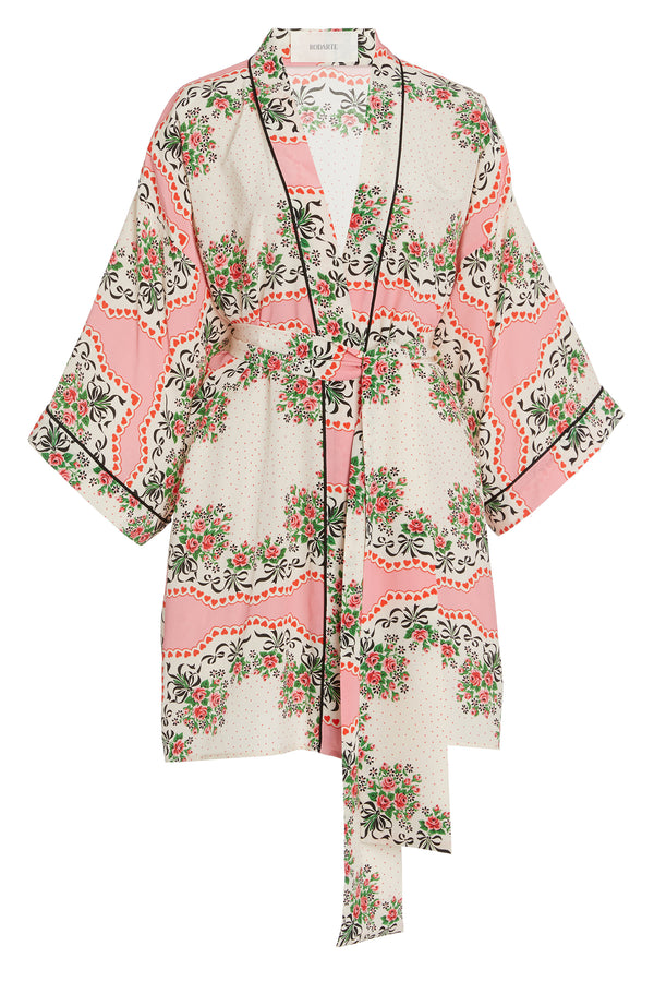 Floral Bouquet Silk Robe