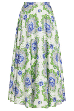 Blue and Green Floral Printed Silk Twill Skirt