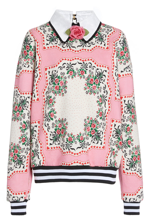 Silk Rose Floral Bouquet Sweatshirt