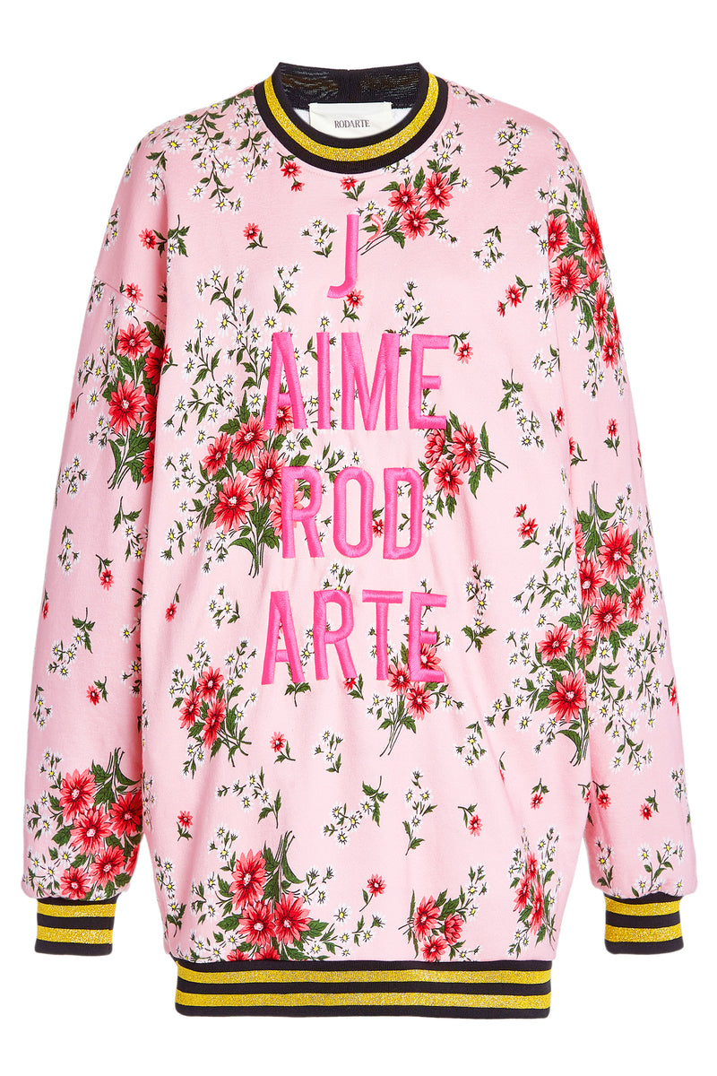 Pink Daisy Sweatshirt Dress