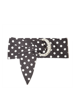 Polka Dot Belt with Pearl Crescent Buckle