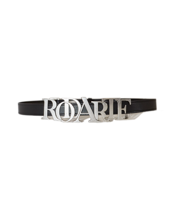 Leather Belt with Rodarte Logo Buckle