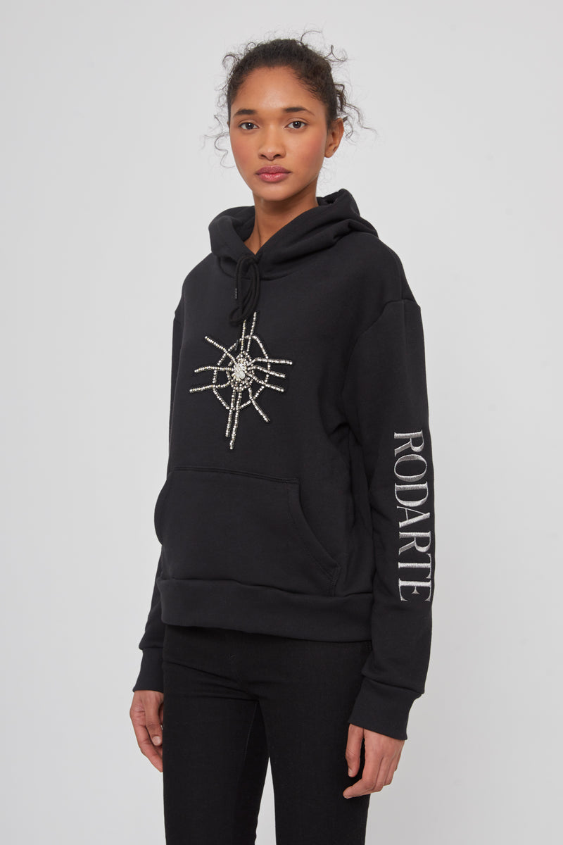 Rodarte Hoodie With Crystal And Pearl Spider
