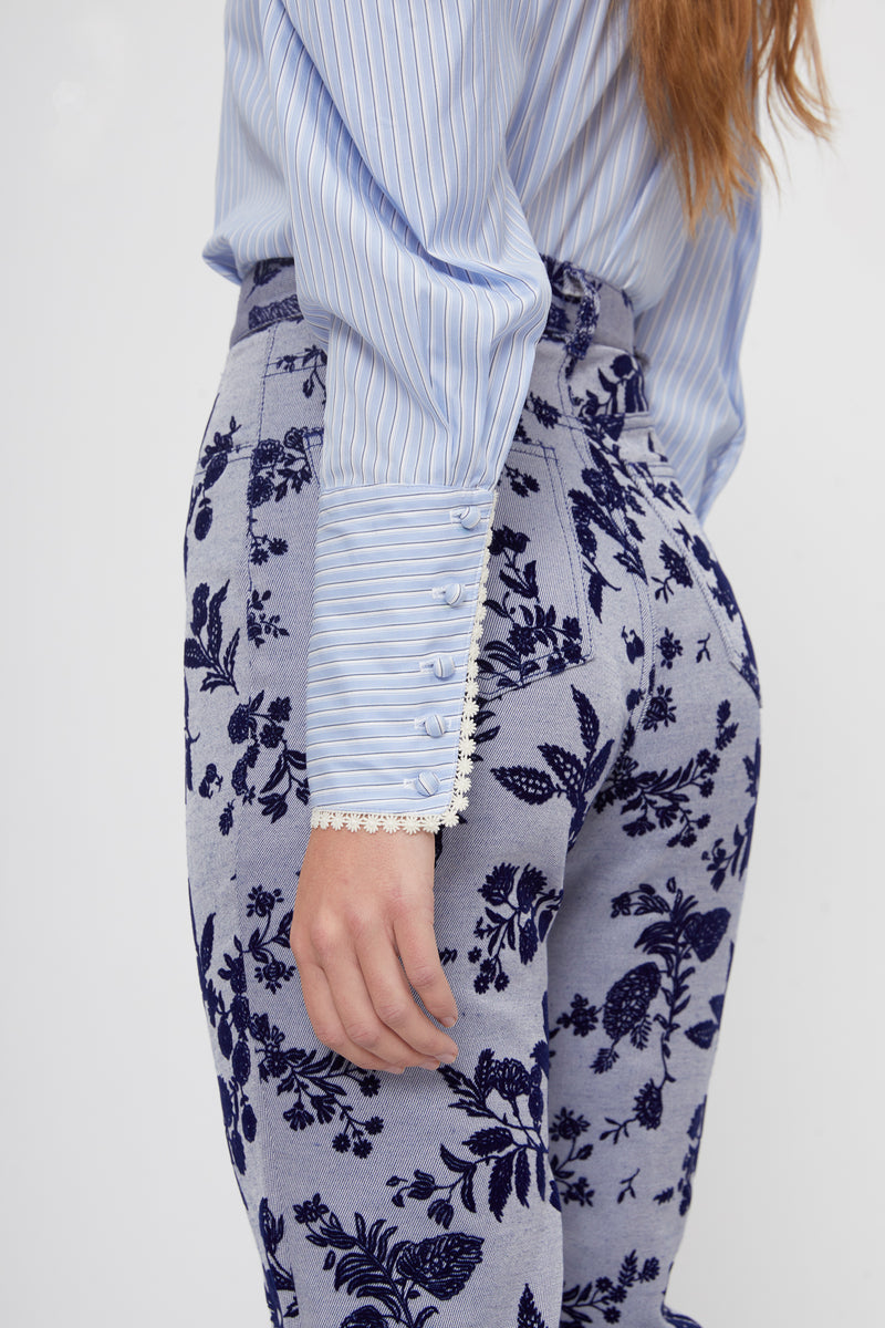 Floral Blue Denim Straight Leg Pant