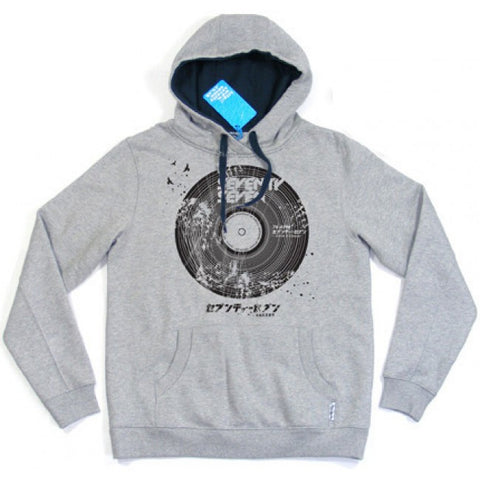 Seventy Seven 'Broken Record' Hooded Sweat - Grey Marle