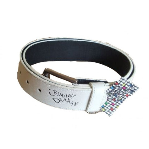 Criminal Damage Belt - White
