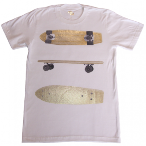 Public Domain 'Skate' T-Shirt - White/Gold