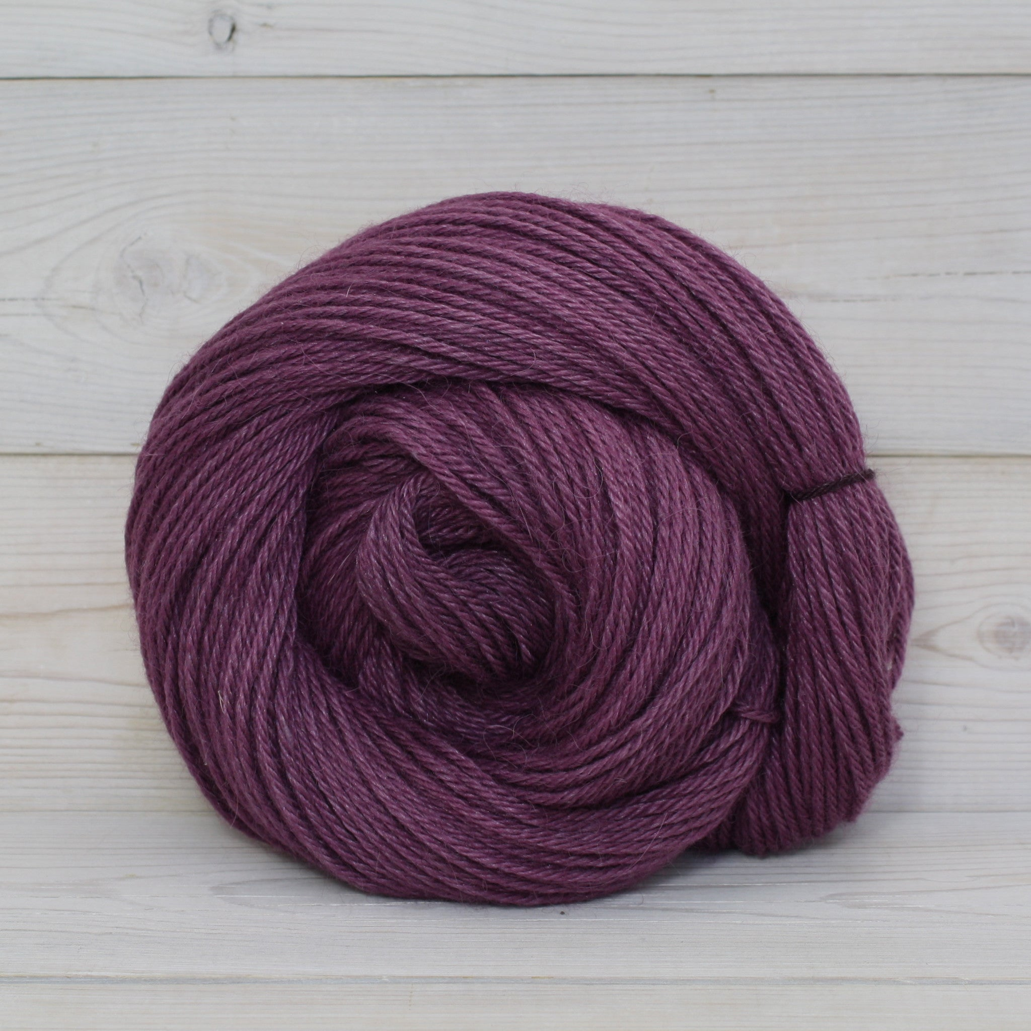 Luna Grey Fiber Arts Vega Yarn | Colorway: Eggplant