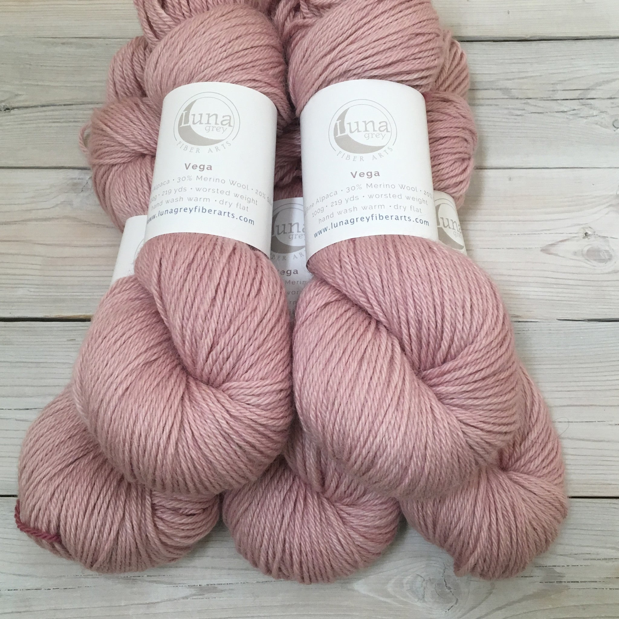 Luna Grey Fiber Arts Vega Yarn | Colorway: Tea Rose