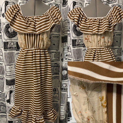 ALL VINTAGE FABRIC BOHO DRESS•size MEDIUM