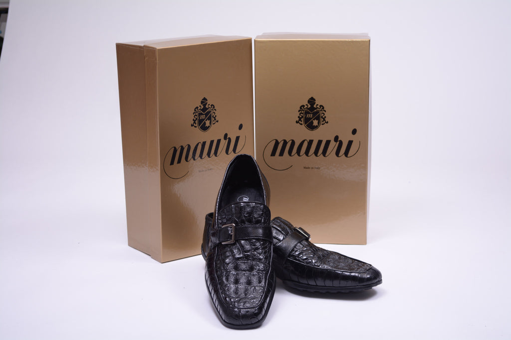 MAURI ALLIGATOR AND OSTRISH BLACK LOAFER
