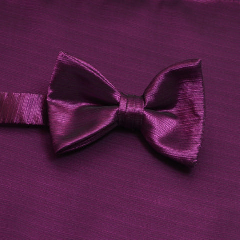 Persian Plum Horizontal Bow Tie with Matching Pocket Square