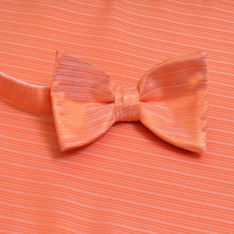 Tangerine Horizontal Bow Tie with Matching Pocket Square