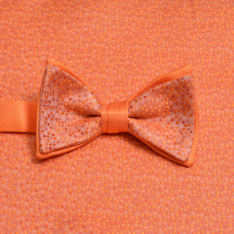 Tangerine Mosaic Bow Tie and Matching Pocket Square