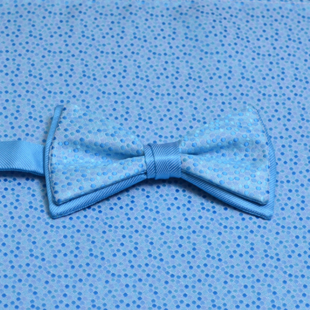 Blue Ice Mosaic Bow Tie and Matching Pocket Square