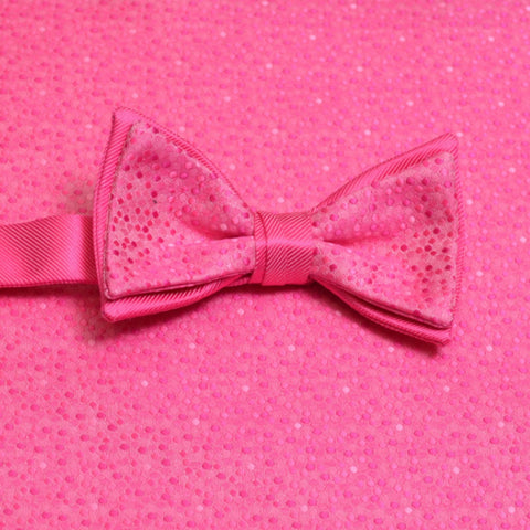 Bright Fuchsia Mosaic Bow Tie and Pocket Square